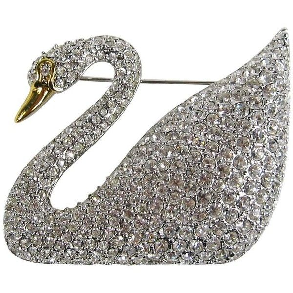 Preowned Swarovski Crystal Iconic Swan Bug Brooch Pin Never Worn (3.795 DKK) ❤ liked on Polyvore featuring jewelry, brooches, grey, 80's fashion jewelry, grey jewelry, swarovski jewelry, swarovski brooch and 80s jewelry