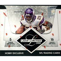 2008 Leaf Limited Football Hobby Box by Limited. $103.79. 4 Autographs or memorabilia cards per box on average! Key Rookies: Chris Johnson, Matt Ryan, Darren McFadden, Donnie Avery, Joe Flacco, Jonathan Stewart, Devin Thomas, Brian Brohm, Felix Jones, Jordy Nelson, Chad Henne, Rashard Mendenhall, James Hardy, Kevin O'Connell, Eddie Royal, Matt Forte, Jerome Simpson, Ray Rice, DeSean Jackson, Kevin Smith, Malcolm Kelly, Jamaal Charles, Limas Sweed, Steve Slaton, and more...