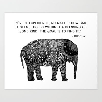 Buddha Quote with Henna Elephant Art Print by Madeline Margaret - $18.00