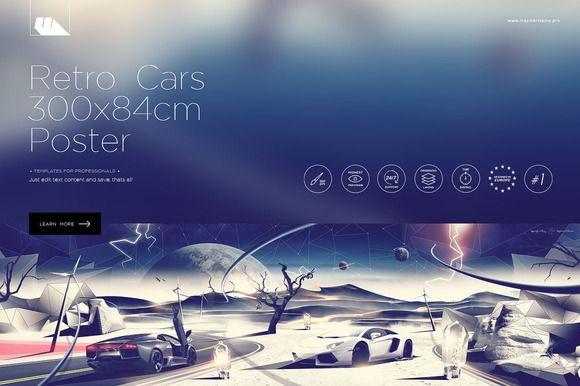 Cars Retro Polygons Poster by mesmeriseme.pro on Creative Market