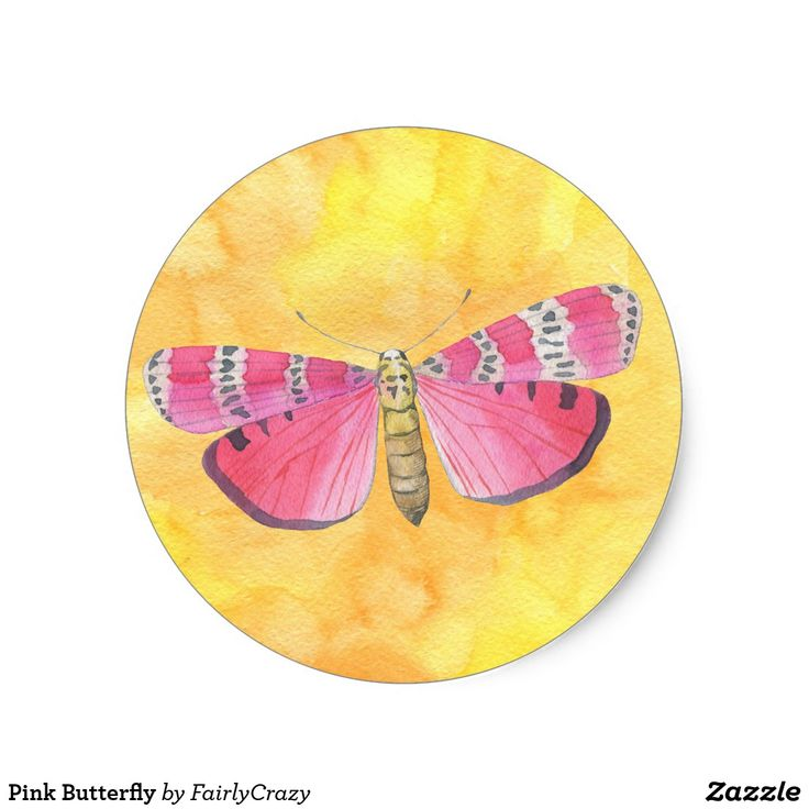 Pink Moth on Yellow Watercolor Background Sticker