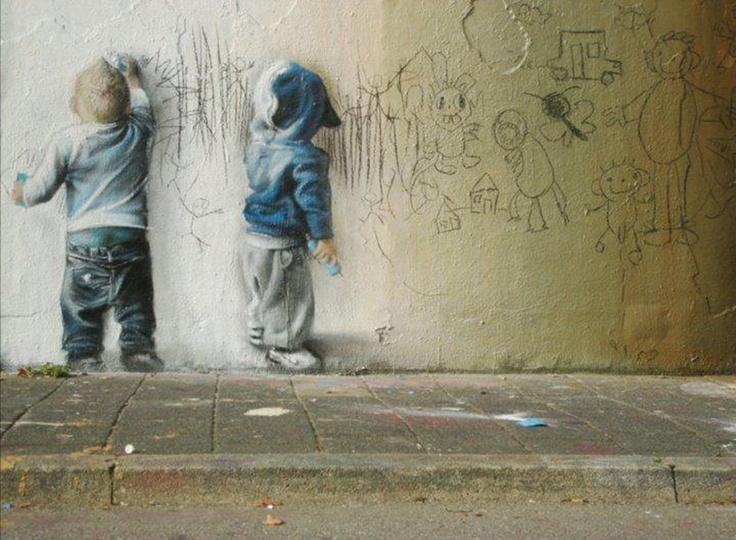 I love it!Photos, Children Plays, Street Artists, Street Art Utopia, Streetartutopia, Baby Art, Art Kids, Little Boys, Graffiti Artists