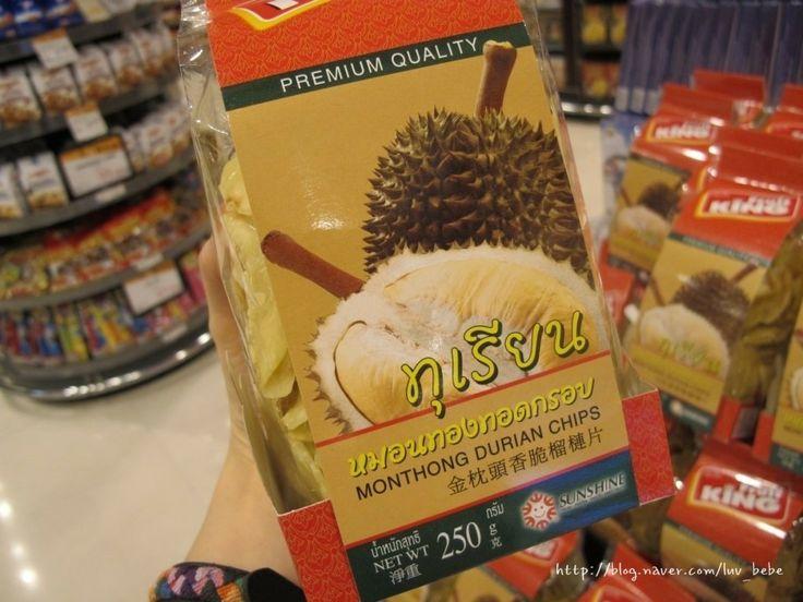 두리안칩  두리안의 방구냄새는 싹 제거되고 고소한 맛이 배가 되어 만들어진 칩