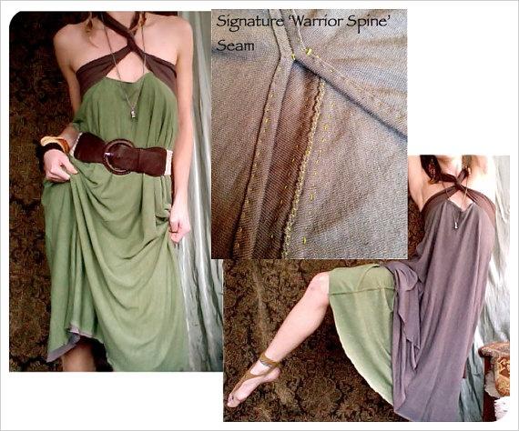 foreign one. bamboo hemp convertible reversible travel dress.