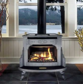 Perfect....Fireside Franklin cast iron and soapstone gas stove with cooktop area, direct-vent natural gas or propane, no electricity required, optional battery-powered remote/thermostat