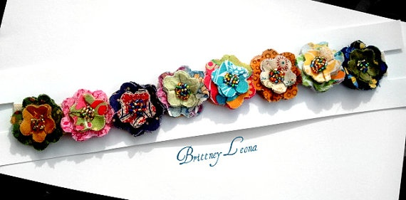 Olivia Fabric Flowers Headband by BrittneyLeona on Etsy, $12.50, beads and fabric