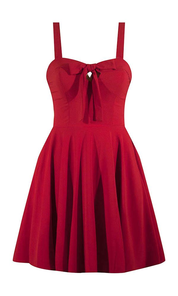 crepe chiffon, dress, full skirt, red, ribbon tie, sweetheart bust, swing dress, pin up style, retro fit, bow front, super cute, rockabilly, psychobilly, hot