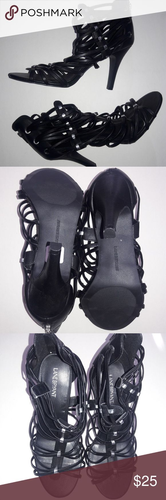 Size 12 Wide Shoes Black Heel Strappy Sandals NEW, never worn...vegan strappy back zip style.. Lane Bryant Shoes Heels