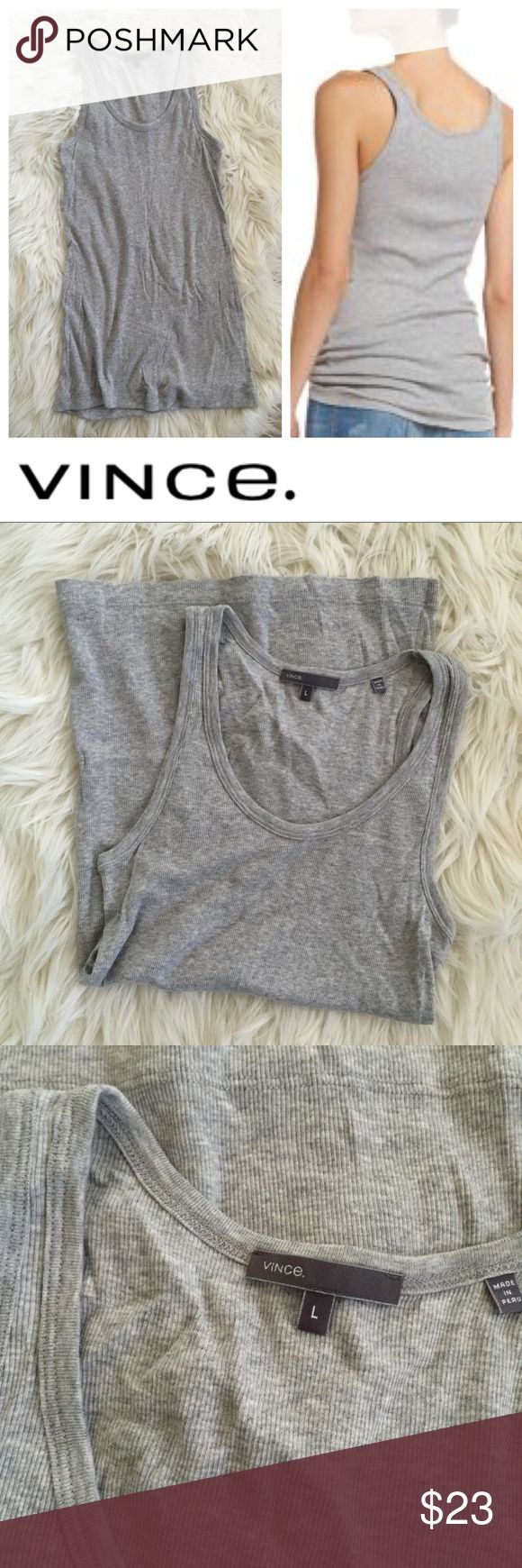 Vince Gray Ribbed Tank Adorable used classic ribbed scoop neck tank in gray by Vince -- size L. Retails for $65 still at major retailers! A closet staple -- and so soft! Bundle to save even more! Hope you enjoy 💐 Branded as Anthropologie because they carry it as well ❤️ Anthropologie Tops Tank Tops