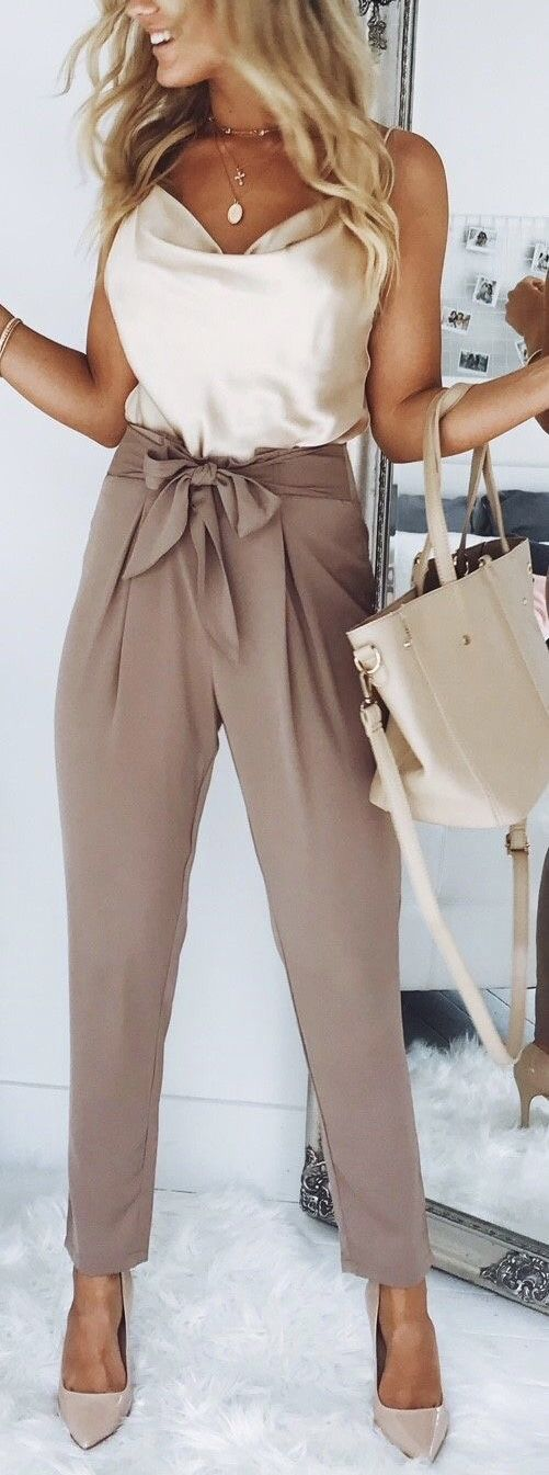 Brown pant and white silk top