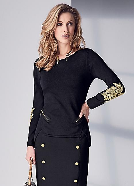 Applique Sweater #Kaleidoscope #Workwear