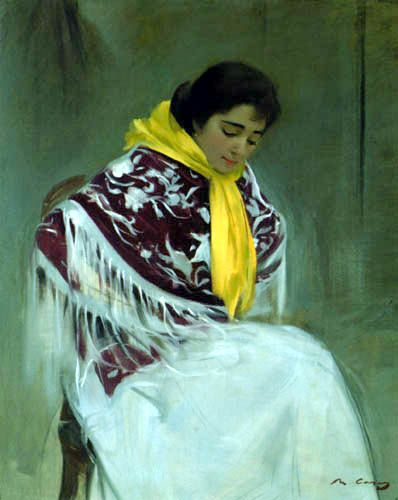 Ramon Casas Paintings | Ramon Casas i Carbó - Woman with Yellow Scarf