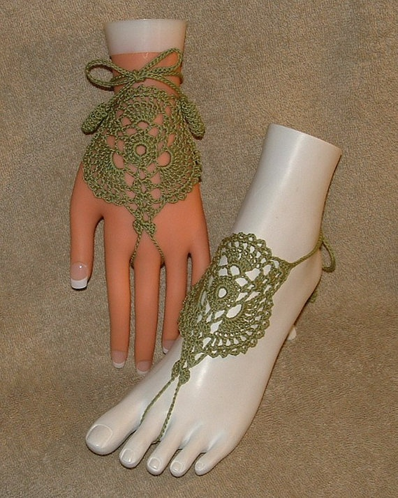 Crochet Barefoot Sandals Beachwear Gift by gilmoreproducts33, $14.00