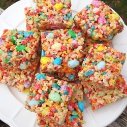 Fruity Spring Cereal Squares, fruity pebbles, rice krispies and jelly beans