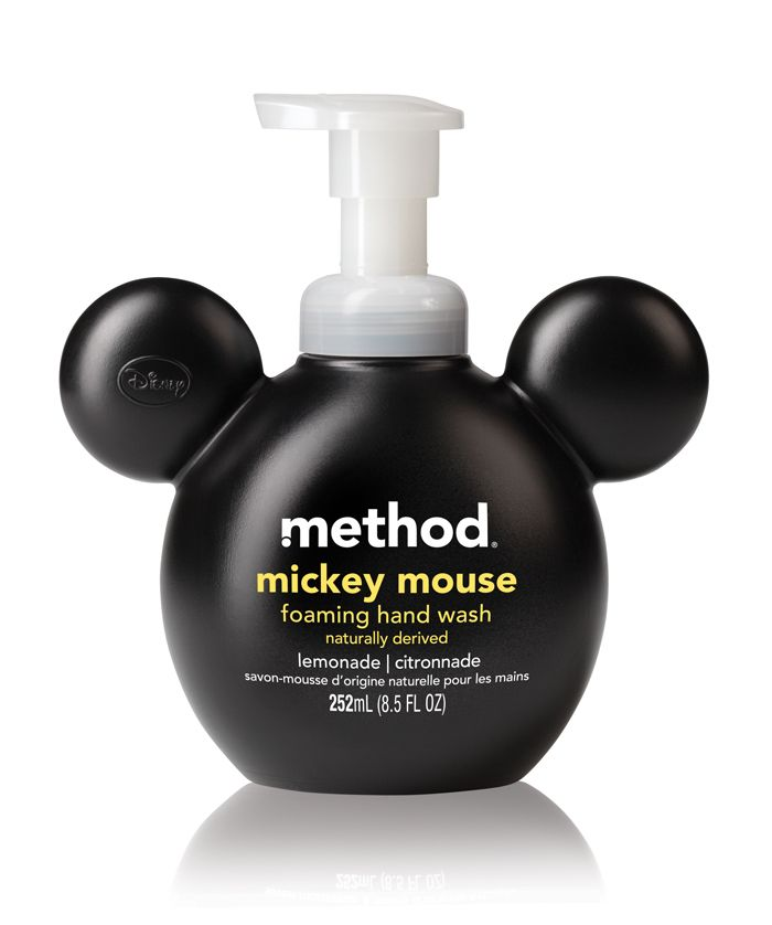 Disney and Method partner up by creating a Mickey and Minnie hand soap! It combinines the shape of the iconic couple's ears with the recognizable type treatment of Method's.