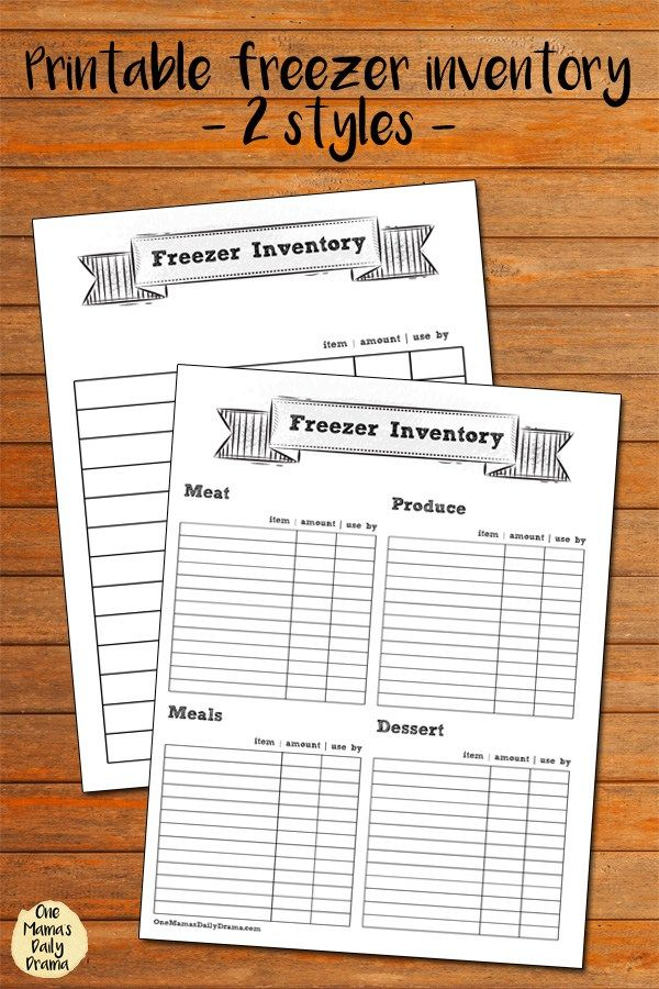 Printable freezer inventory pages - 2 different styles for a simple list or to organize by category