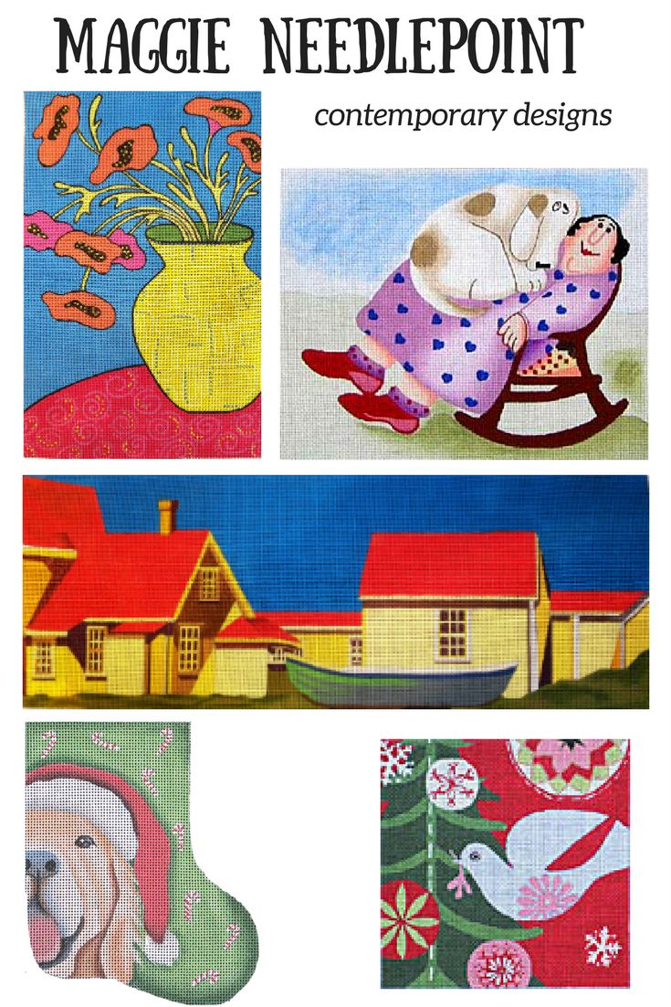 Contemporary handpainted needlepoint designs from Maggie Co.