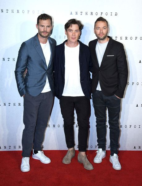 "Jamie Dornan, Cillian Murphy and director Sean Ellis attends the ""Anthropoid"" UK…"
