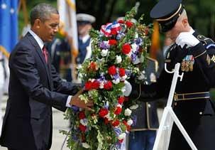 president at arlington on memorial day 2014