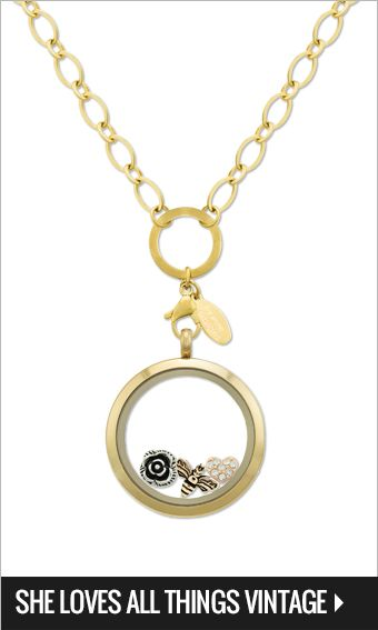 Large gold locket, Gold oval link chain 75cm, Queen bee, Vintage rose, & Rose gold heart w' crystals charms $80-