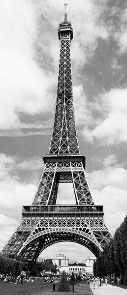 Fotomural Puerta Wizard Genius Eiffel Tower 524, imagen de Torre Eiffel en blanco y negro.