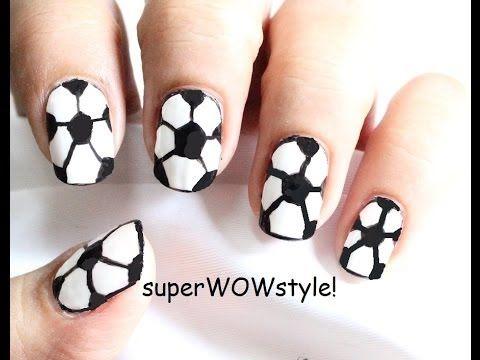 6 Easy Steps ★ Football Nails ★ (Soccer Nail Art Designs) - Drawing Ball Nail Polish