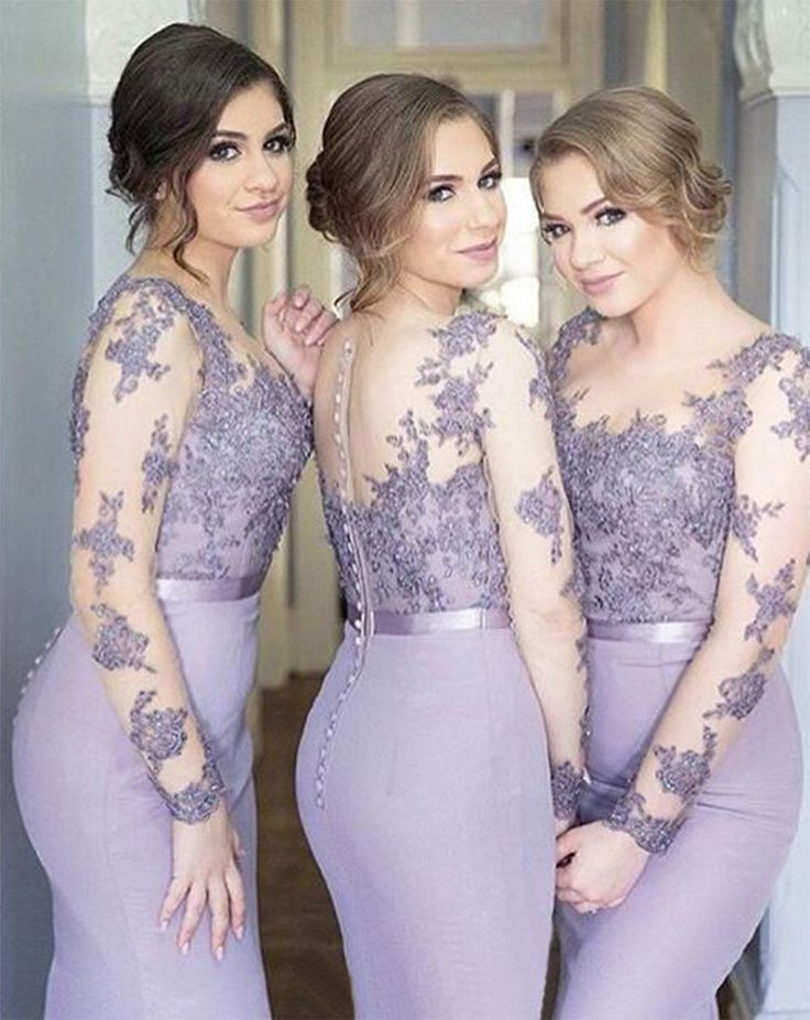 Lace Buttons Lavender Appliques Illusion Popular Mermaid Long-Sleeve Cheap Bridesmaid Dress_High Quality Wedding Dresses, Prom Dresses, Evening Dresses, Bridesmaid Dresses, Homecoming Dress - 27DRESS.COM