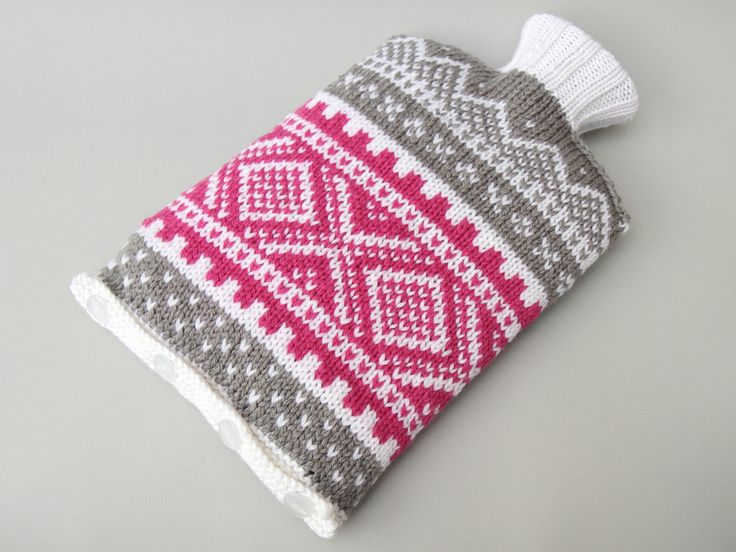 Hand knitted hot water bottle cover. Get the pattern http://itsastitchup.co.uk/knitting-patterns/nordic-ski-sweater-hot-water-bottle-cover/ #knitting #handknit #marius #scandinavian