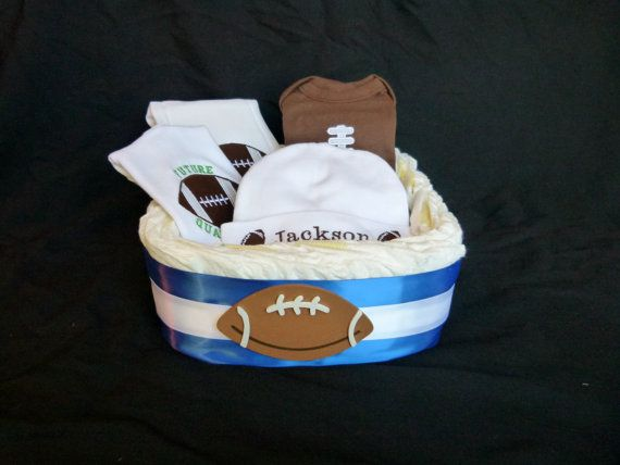 Football Baby Boy Gift Set Diaper Basket  Choose Your by mamabijou, $68.00