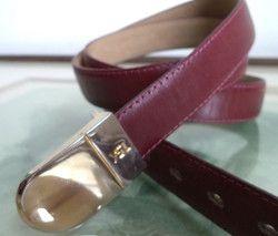 New Listing Started YSL men's Unisex Vintage Logo Burgundy Skinny Leather Belt 36/90 med small C$55.00