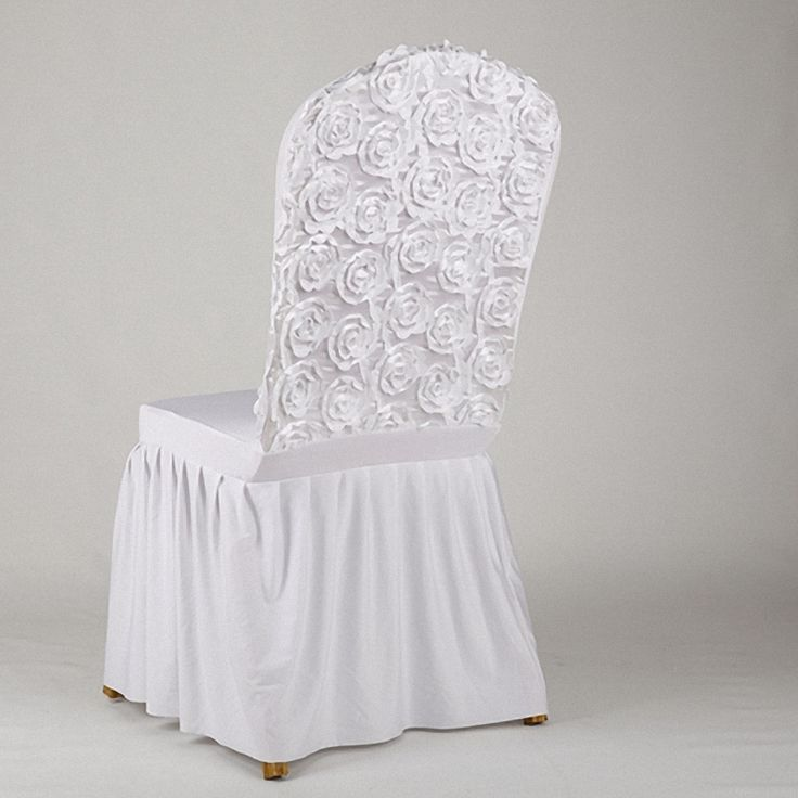 Chic Princess Party Suppliers Bridal White Ruffles Chair Covers Beauty flower Petals spandex sleeve Dinner festa wedding Decor
