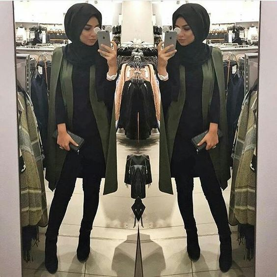 green cape coat hijab chic http://www.justtrendygirls.com/how-to-wear-trench-coat-with-hijab/