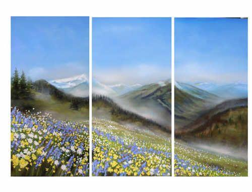 "Richard Cole WILDFLOWERS 16017 SHOWPIECE RIC626 oil, canvas 36"" x 54"""