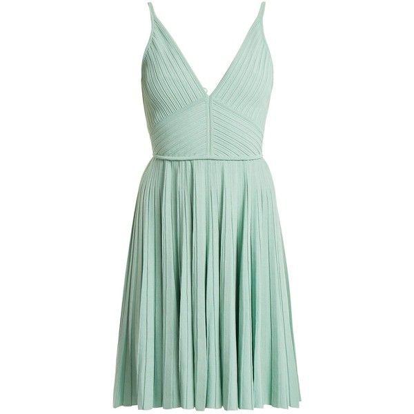 Elie Saab Deep V-neck pleated-knit mini dress ($2,035) ❤ liked on Polyvore featuring dresses, light green, ruffle mini dress, knit dress, ruffle dress, green pleated dress and pleated short dress