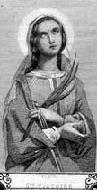 Saint Victoria of Albitina 12 February Born to the North African nobility. Convert in her youth. She refused an arranged marriage to a young nobleman, and on her wedding day she leaped from a window in her parents' house. She sought sanctuary in a nearby church, and there dedicated her life to God. Marytred with 45 fellow parishioners; they have long been given as examples hose who are lukewarm in attending Mass. She was noted during her imprisonment for her courage.