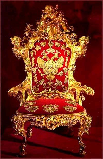 Throne of Empress Elizabeth Petrovna, Russia (ca. 1740-1742; gilded wood, velvet, gold thread).
