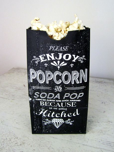 Wedding popcorn: Popcorn Bags, Popcorn Favors, Packaging, Wedding, Cute Ideas, Black White, Favors Bags, Snacks, Popcorn Bar