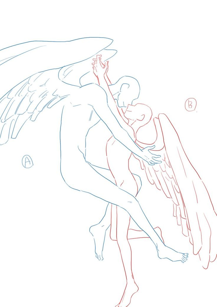 Two angels about to hug. -- Drawing tools, inspiration, creativity, tutorial, reference, guide, poses, couple, mystical, wings