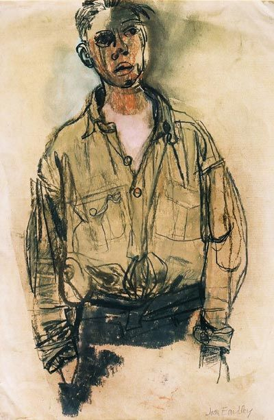 Joan Eardley - The khaki shirt, Pastel on paper, 28.5 x 19.5cm - Gracefield Arts Centre