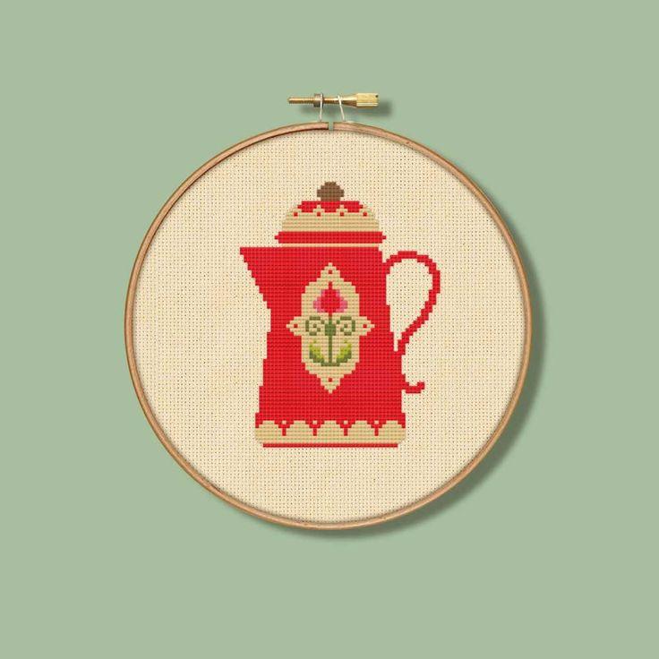 Vintage Red Coffee Pot Cross Stitch Pattern Cream por Stitchrovia