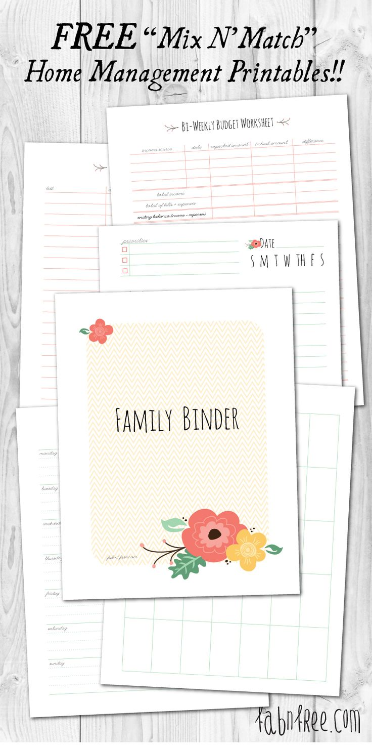 Free Printable Mix and Match Home Management Binder, Lots to choose from!!  fabnfree.com