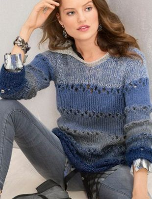 Вязание пуловера с капюшоном