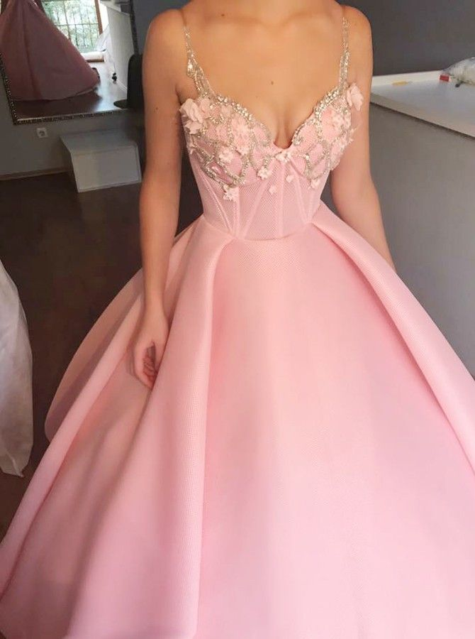 81f8f9021d Ball Gown Spaghetti Straps Pink Satin Prom Dress with Appliques Beading