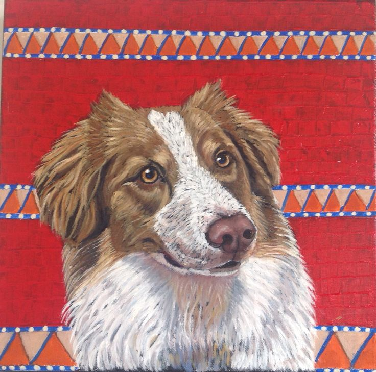 My oil on canvas portrait of Scarlett, a beautiful Australian Shepherd. Check out my website: http://moniquewestra.com