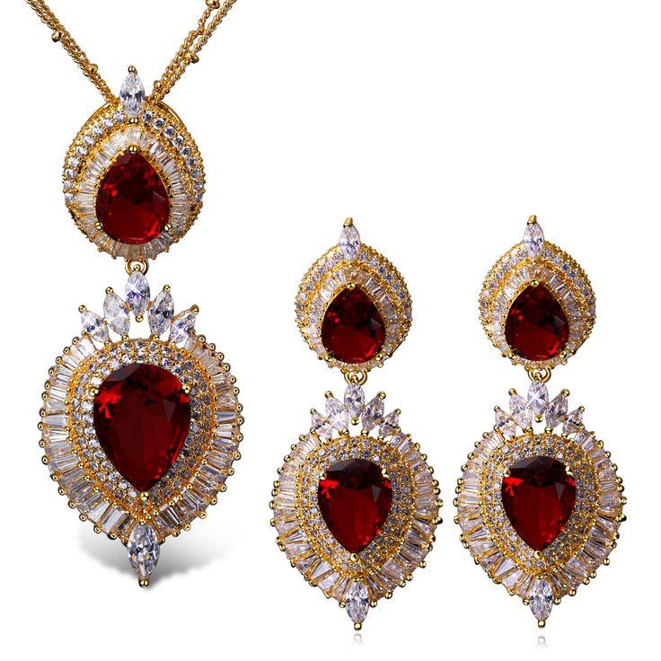 Platinum Покрытием свадебные Украшения Наборы для Женщин Красное Ожерелье и Серьги CZ Люкс Для Украшения Набор Цветок Кулон