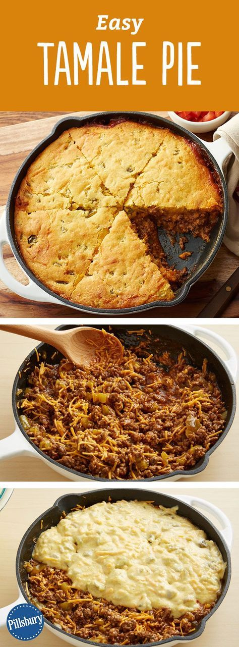 Easy Tamale Pie - The cornbread is laced with green chiles for a fun twist on…
