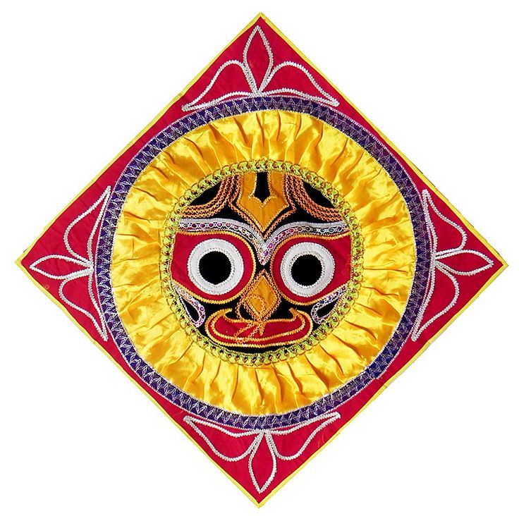 Appliqued Jagannathdev Face Decorated with Yellow Satin and Zari Ribbon on Black Velvet Cloth - (Wall Hanging) (Applique Work On  Velvet Cloth))