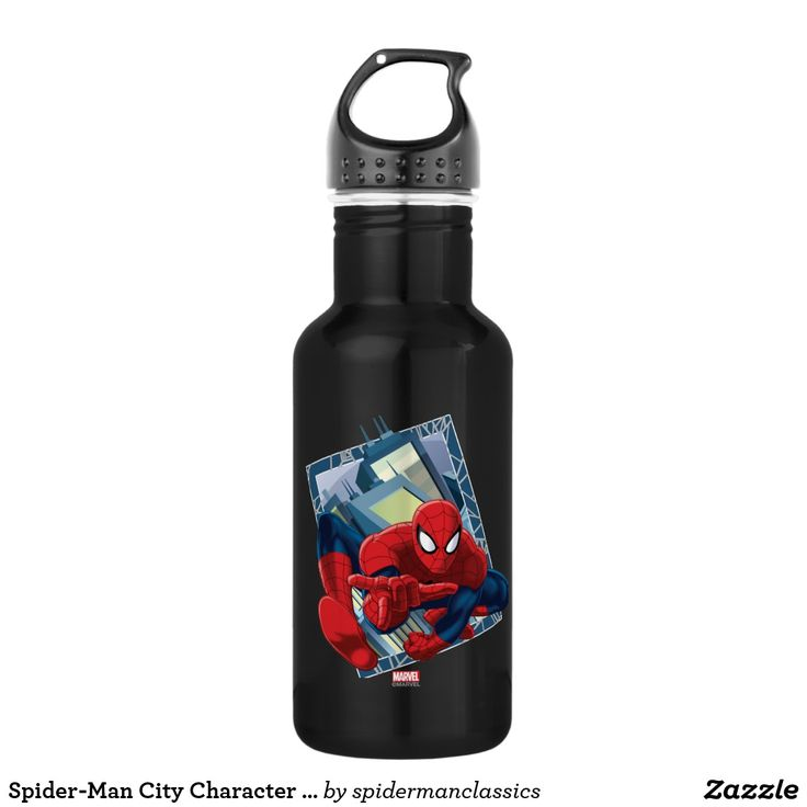 Spider-Man City Character Graphic. Producto disponible en tienda Zazzle. Product available in Zazzle store. Regalos, Gifts. #bottle #botella