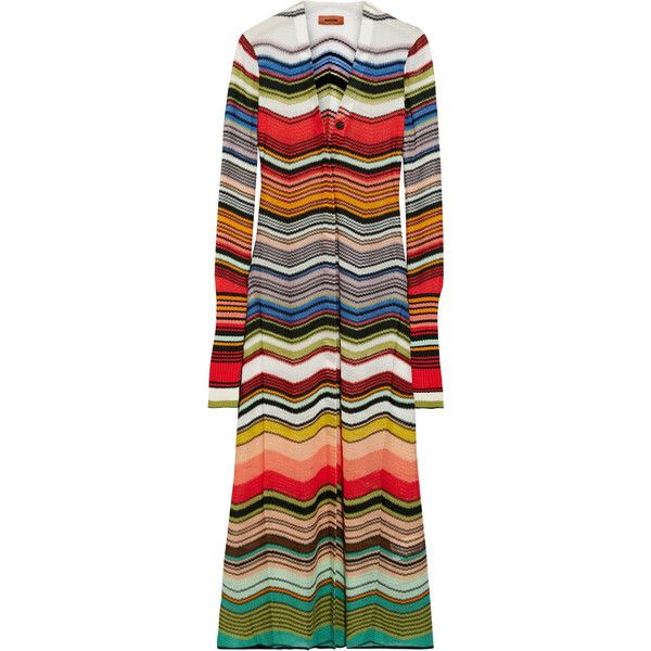 Missoni Striped crochet-knit cardigan ($1,605) ❤ liked on Polyvore featuring tops, cardigans, red, striped cardigan, colorful cardigan, long sleeve tops, red cardigan and multi color cardigan