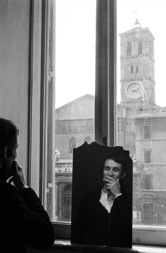 Alighiero Boetti in his studio in Rome, Santa Maria in Trastevere. Photo by Gianfranco Gorgoni